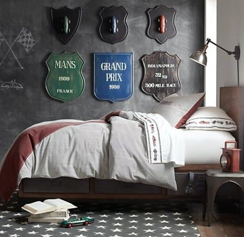 Striped Racing Flag Bedding Collection****for me, it's about the signage!