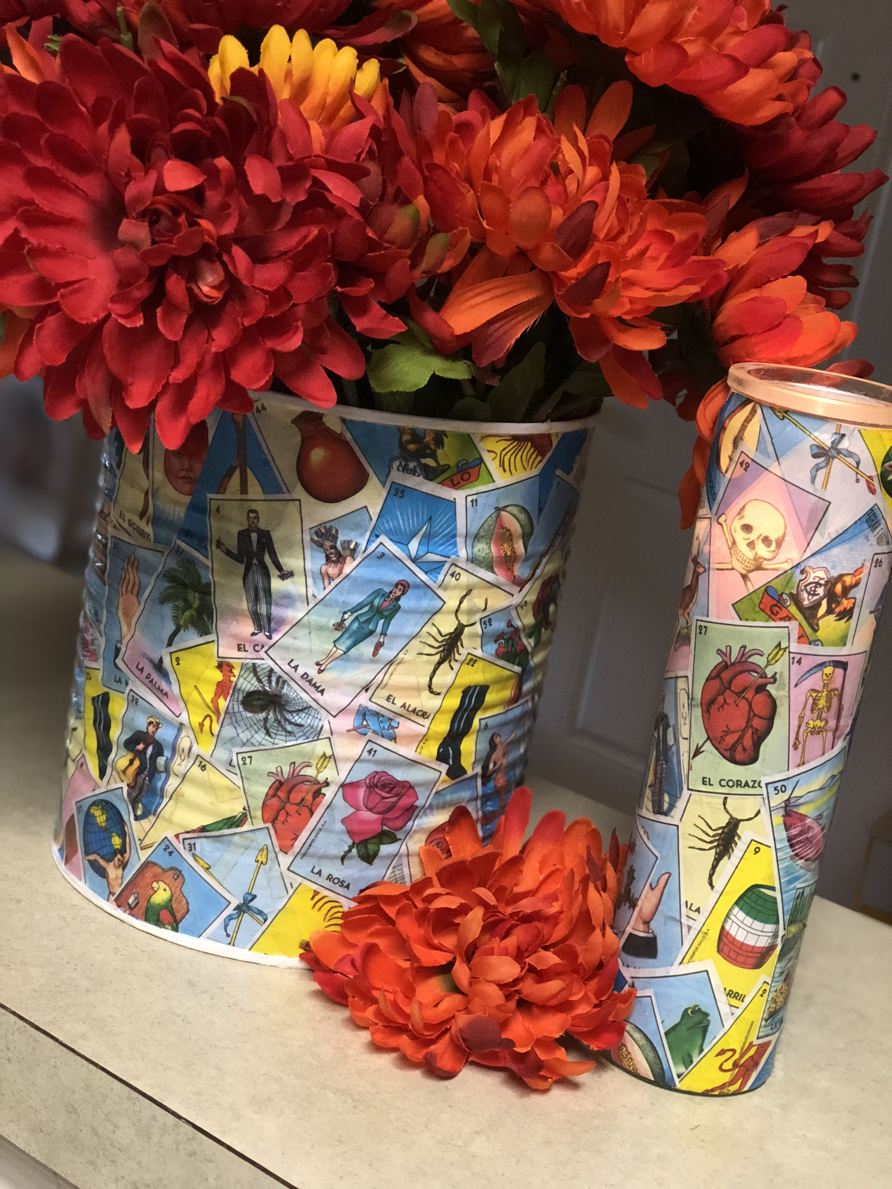 Large Can Amp Candle I Decoupaged With Loteria Cards