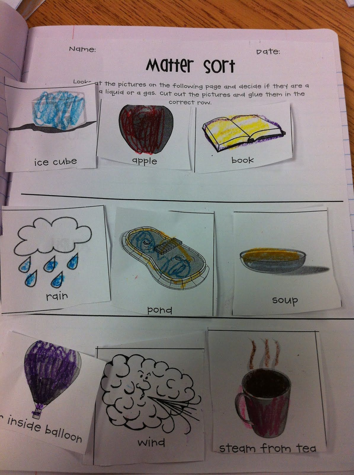 Matter sort First grade science, Matter science