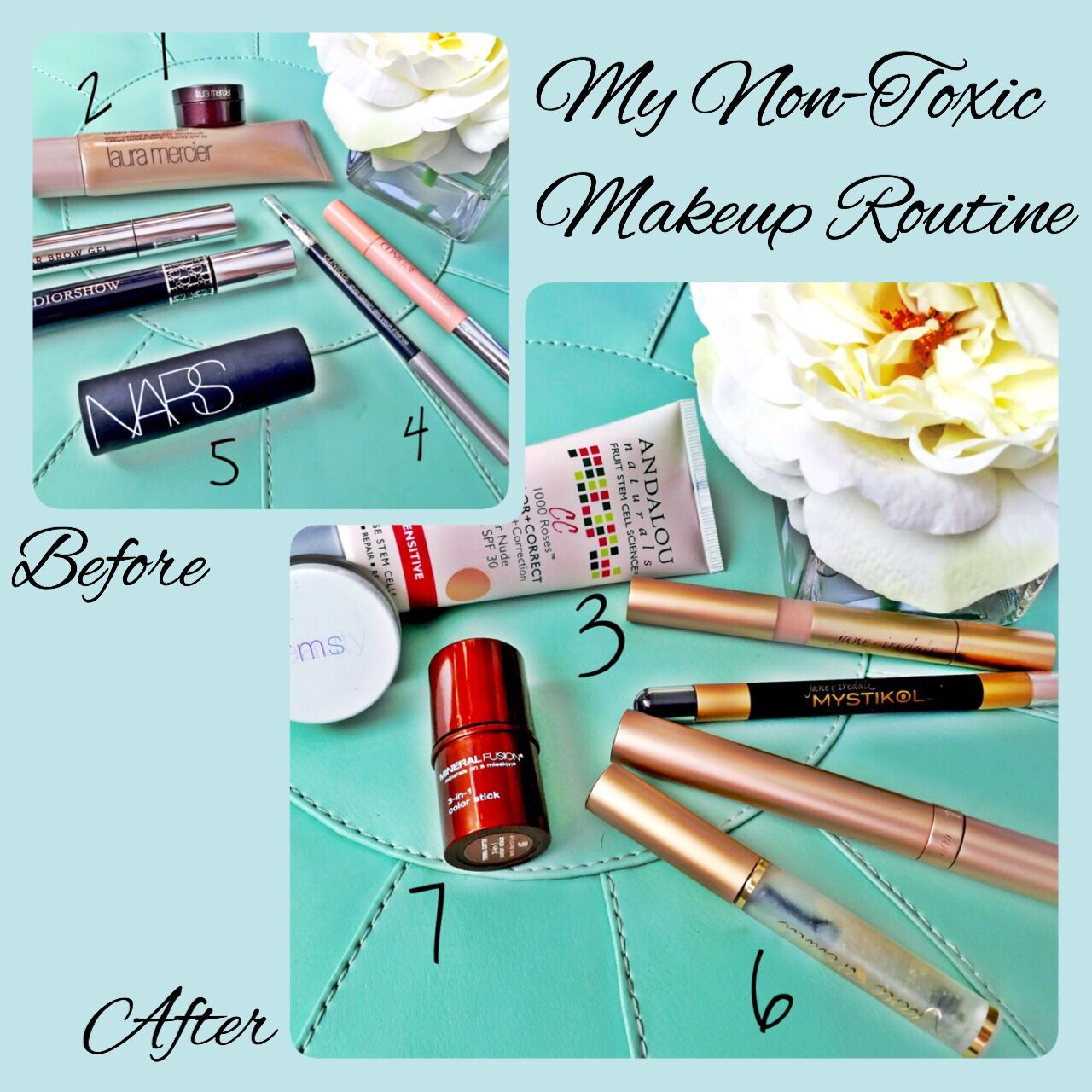It's Makeup Monday! Find a non-toxic swap for your favorite makeup. This is what mine looked like, for details and reviews on the products check out http://www.practically-organic.com/?p=76