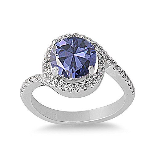 Round Center Simulated Tanzanite Cubic Zirconia Ring Sterling Silver 925 Size 7 -- Click image for more details.