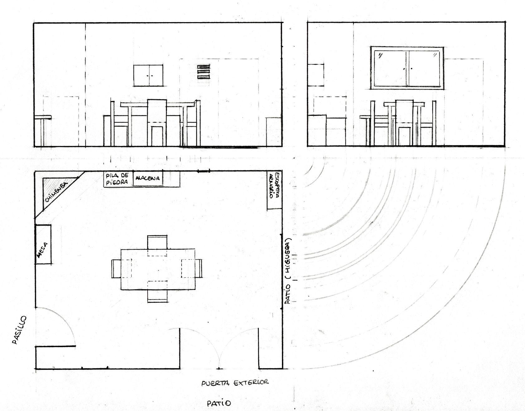 Planta alzado y perfil cocina de 5 x 4 m una chimenea una - Alacena de cocina ...