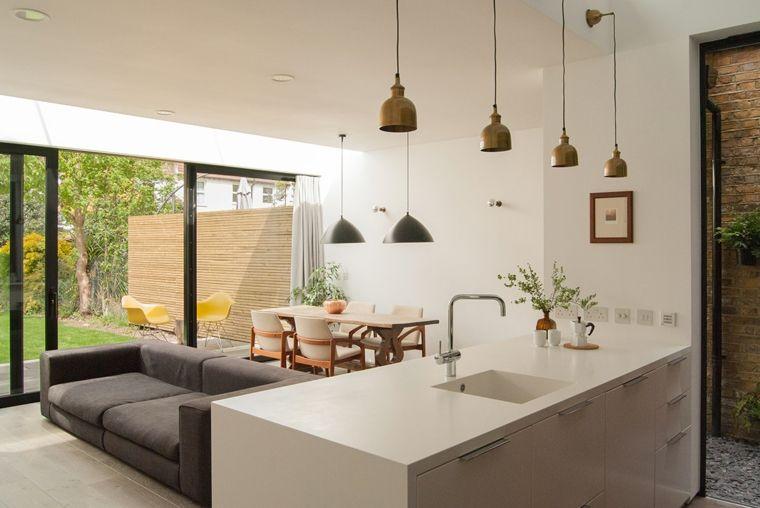 come arredare cucina soggiorno ambiente unico con pareti bianche ...