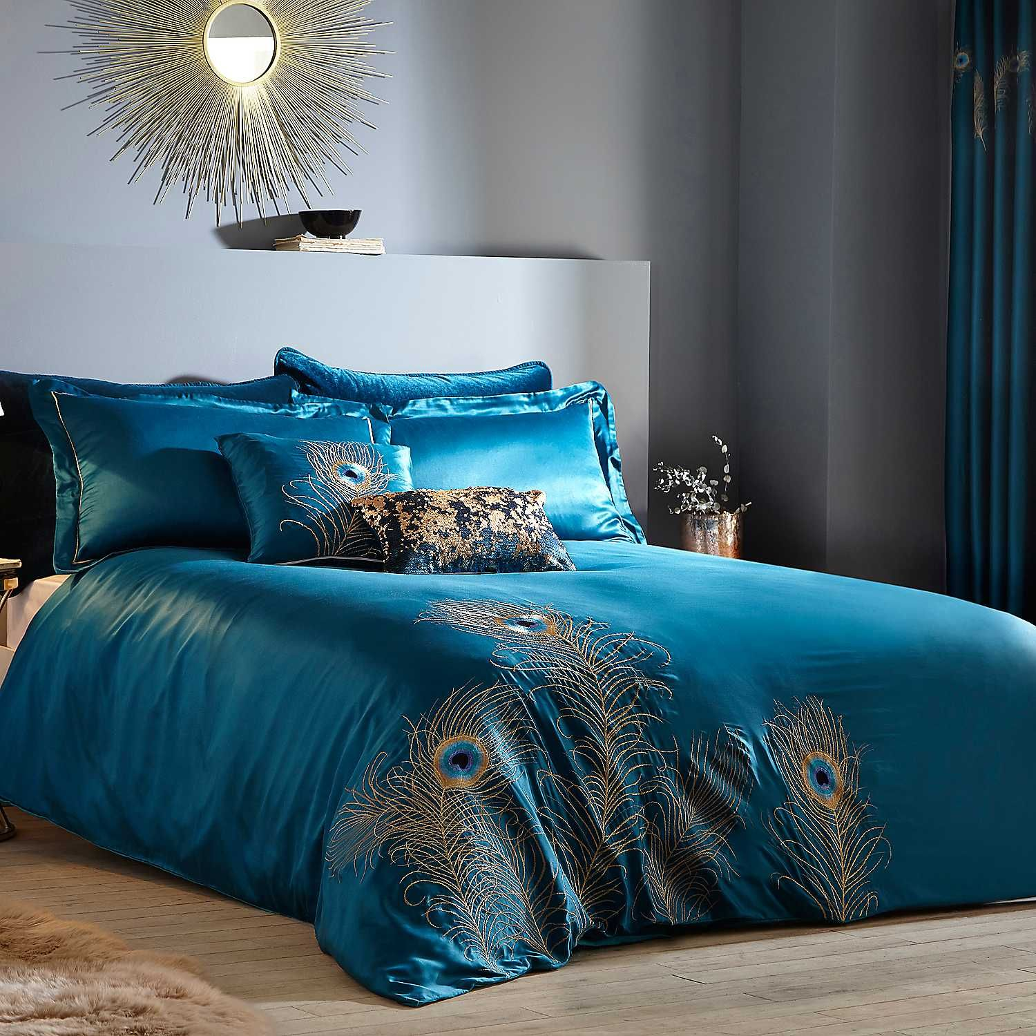 Peacock Feather Embroidered Teal Duvet Set Bed Linens Luxury Teal Bedding Sets Teal Duvet Cover