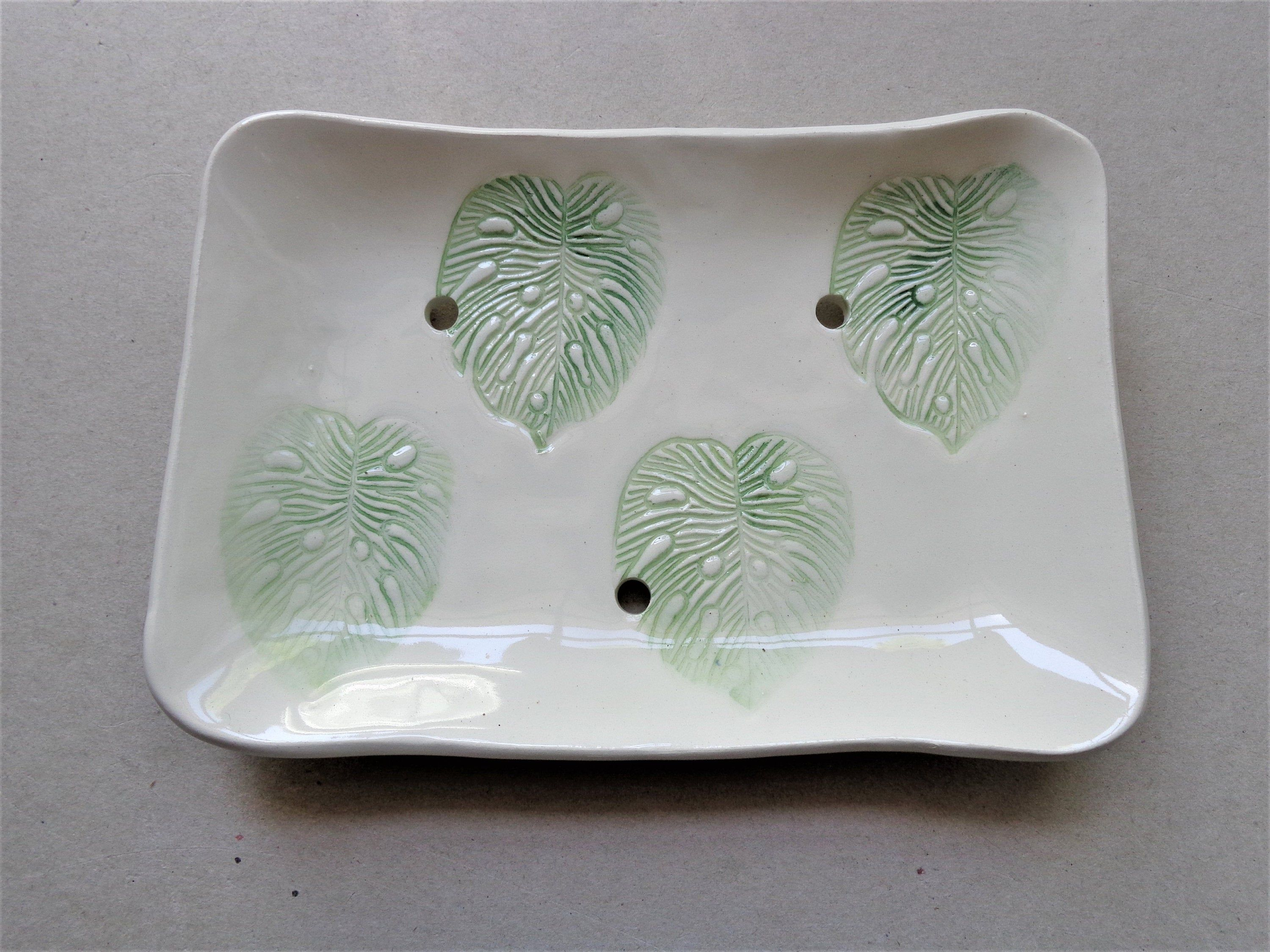 Monstera Leaf Soap Dish Ceramic Tropical Green White Footed Earthenware Pottery Soap Holder With Holes Bathroom Sink Decor Mother S Day Gift Leaf Soap Ceramic Soap Dish Earthenware Pottery