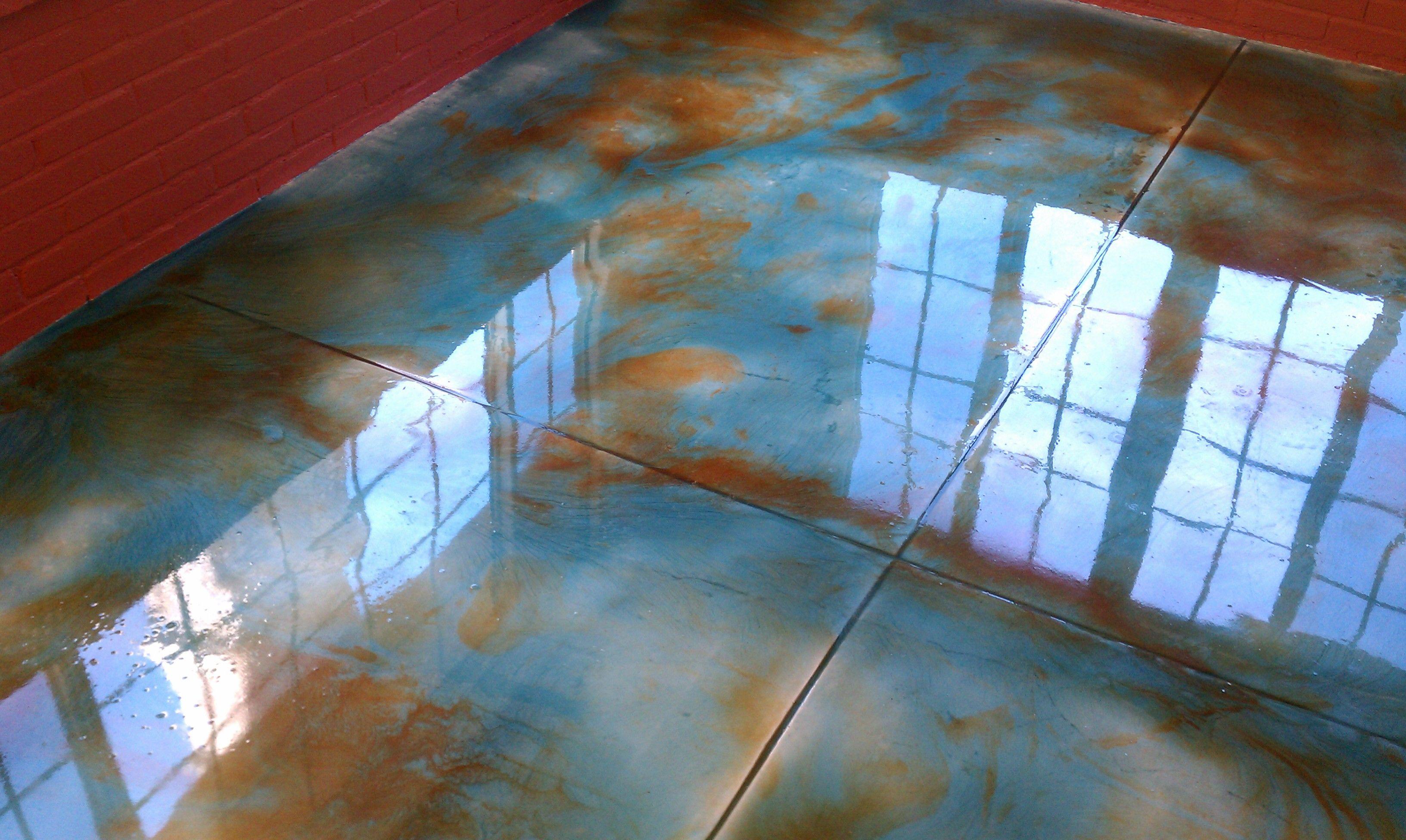Terra Cotta Amp Aqua Epoxy Floor Epoxy Overlay Concrete