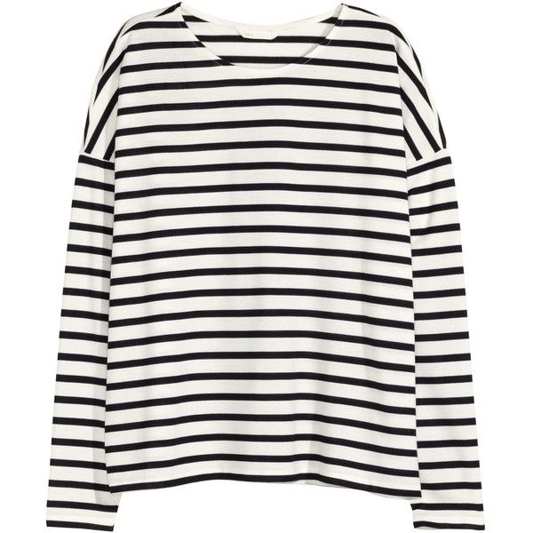 ceddb30e095c0f Striped Jersey Top $17.99 ($13) ❤ liked on Polyvore featuring tops, h&m,  striped, white long sleeve top, striped jersey, white jersey, drop shoulder  tops ...