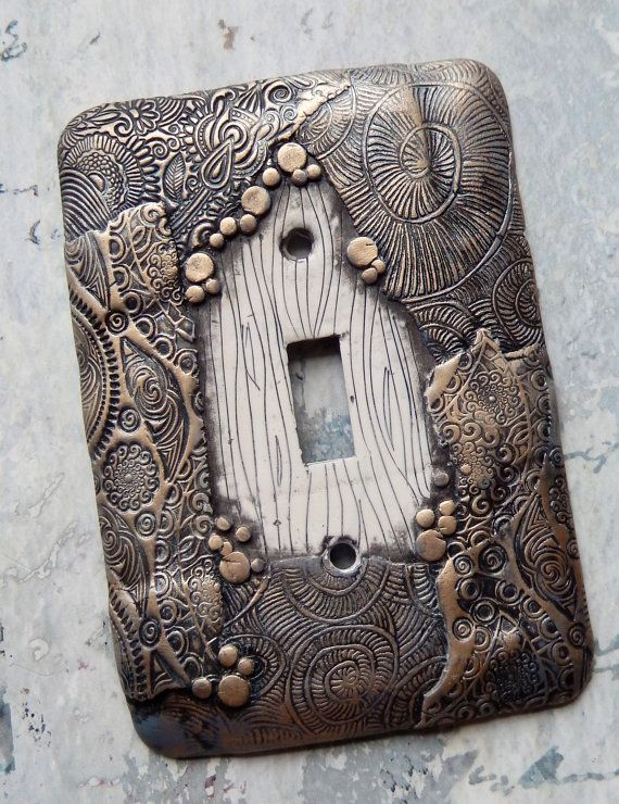 Waking from a Dream, light switch cover, switchplate, polymer clay over metal cover, white, black and silvery gold