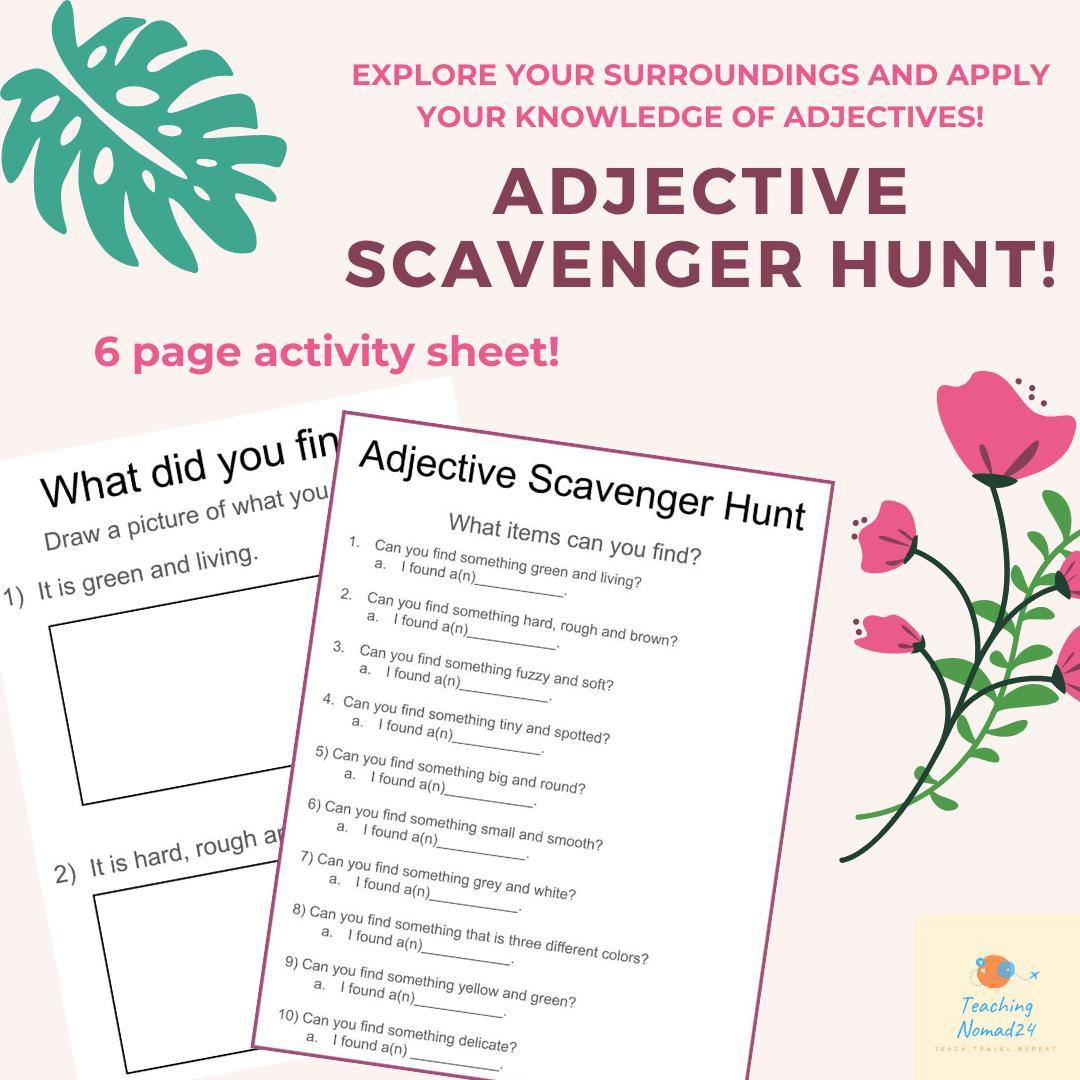 Fun Adjective Scavenger Hunt In