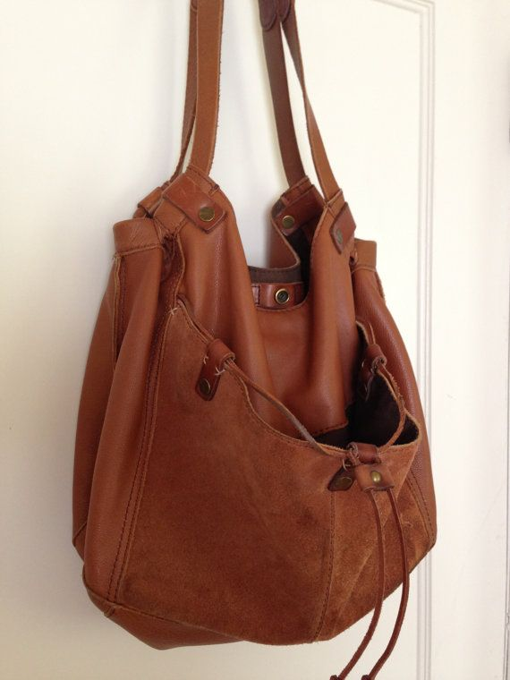 Lucky Brand Soft Caramel Brown Leather and Suede Large Slouchy Hobo Tote  Bag Handbag Bohemian Hippie 14 x 12 x 6.5 strap 22 excellent condition 1777938874261