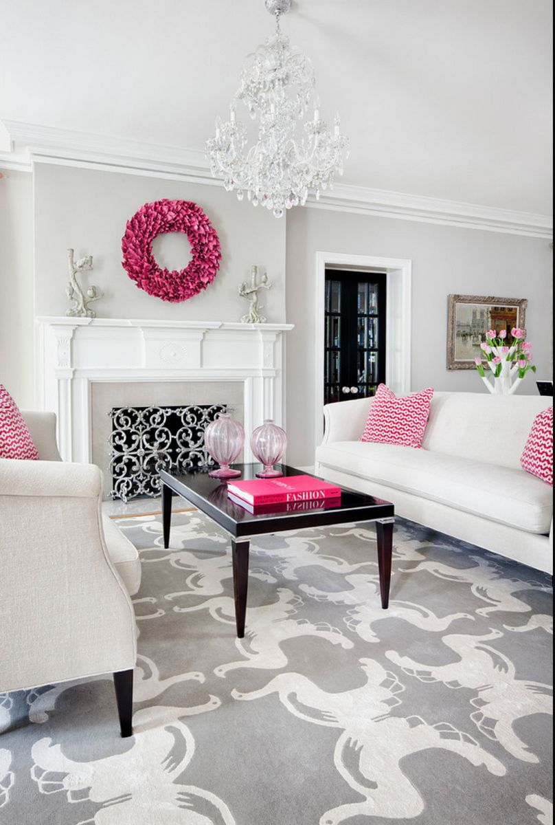 glam decor living room | Pinterest | Traditional décor, Hot pink and ...