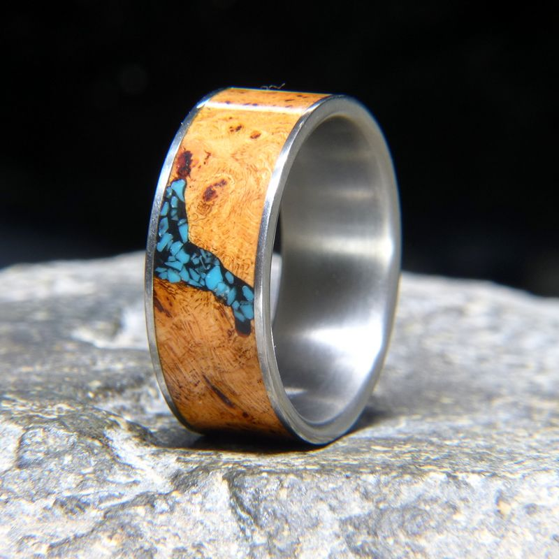 Black cherry burl turquoise inlay titanium wedding band or