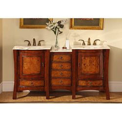 Silkroad Exclusive Marble Top 67 Inch Double Sink Vanity Cabinet