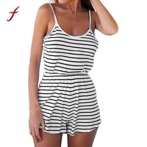 2631dc79041 Womens Summer Casual Playsuit Ladies Striped Spaghetti Strap Jumpsuit  Romper Beach Backless Vest Playsuit