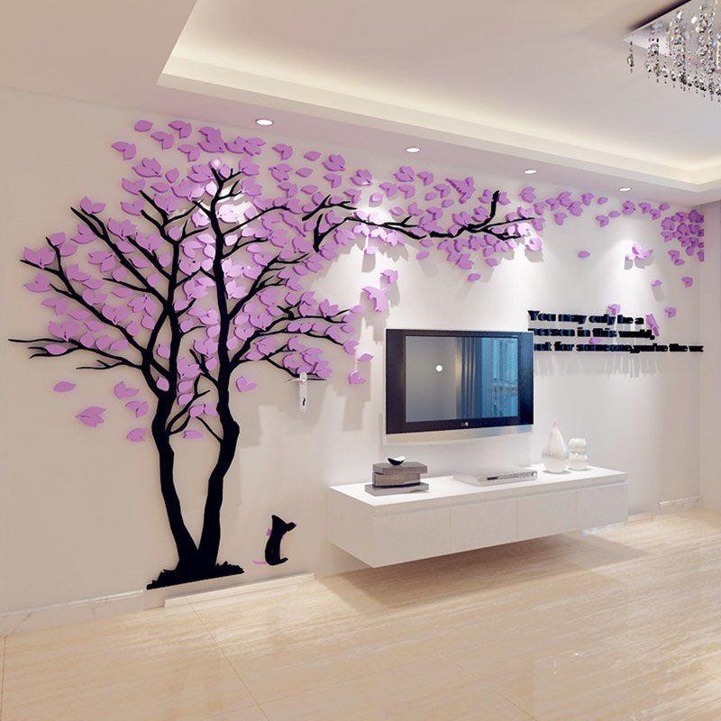 Creative couple arbre 3d autocollant acrylique stéréo mur autocollants muraux art mural stickers muraux tv toile