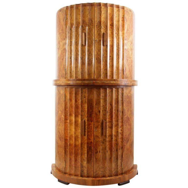 Art Deco Fluted Tail Cabinet In Burr Walnut By Epstein Uk 1930s