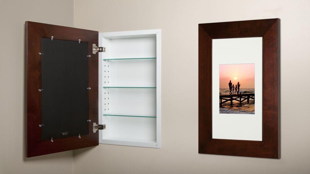 Extra Large Espresso Recessed Picture Frame Medicine Cabinet 14 X 24 In Wall Medicine Cabinet Picture Frames Bathroom Medicine Cabinet