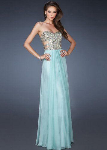 A-line Strapless Neck Crystal Bodice Chiffon Floor-length Evening Gowns