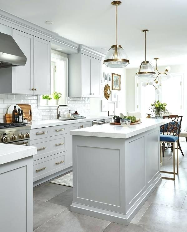 White Kitchen Cabinets Light Floor: Light Gray Floor Tile Light Gray Cabinets With White