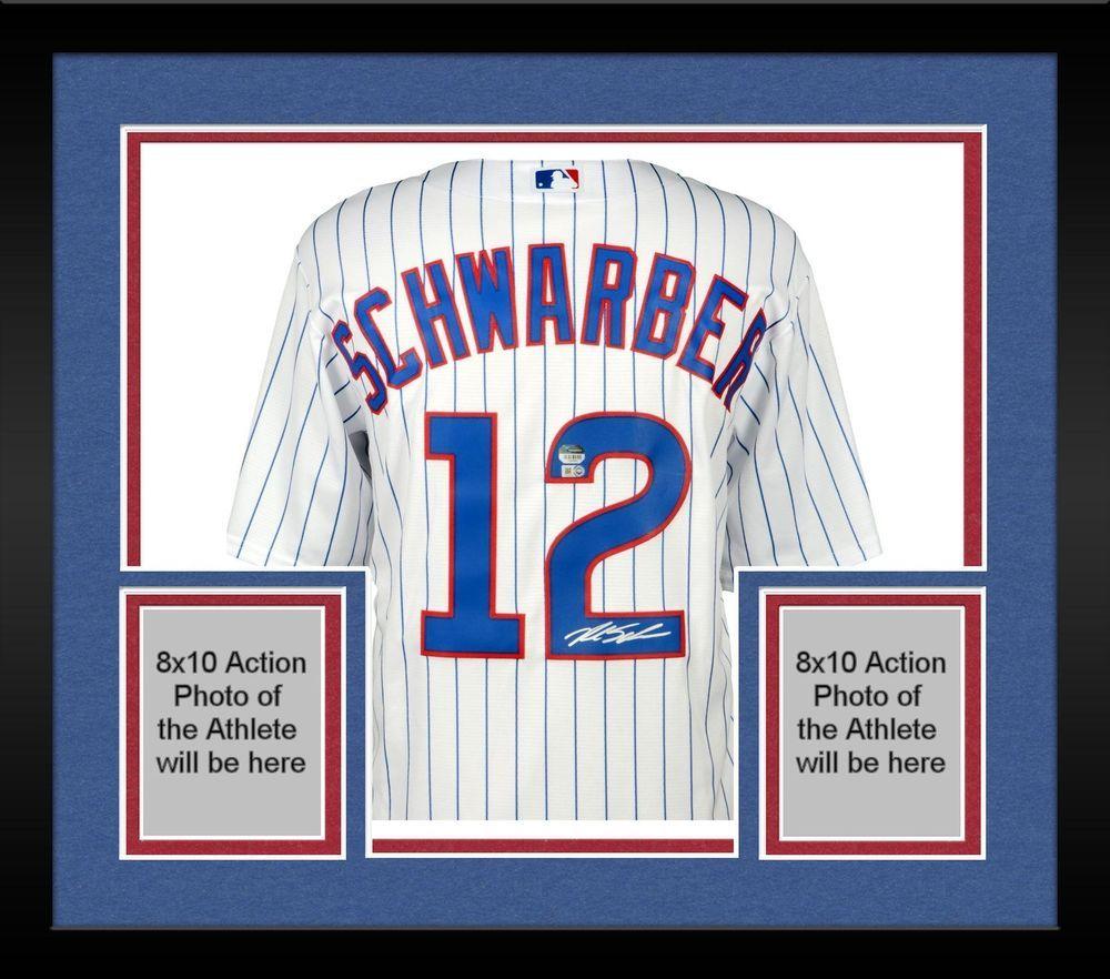 big sale 38297 3680a Framed Kyle Schwarber Chicago Cubs Autographed White Replica ...