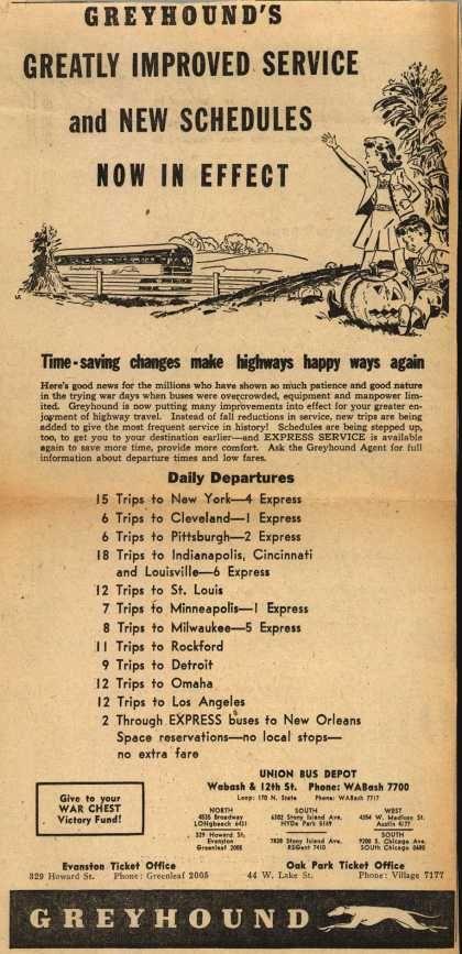 Greyhound bus schedule, 1945 | Oh so vintage | Bus travel, Bus