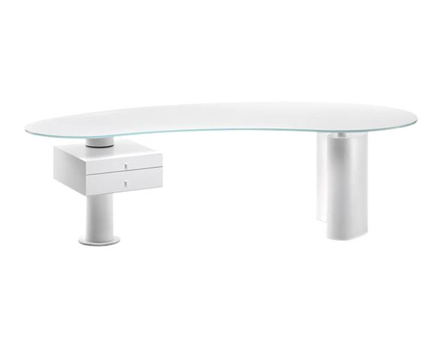 Houston Desk by Cattelan Italia – Wood Base with Black Drawer and Frosted Glass Top | The  Local Vault