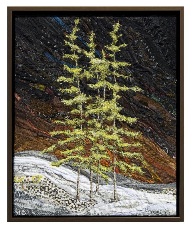 Spring Tamaracks, 20 x 16″, by Lorraine Roy | fiber art.  Tamarack is beautiful …