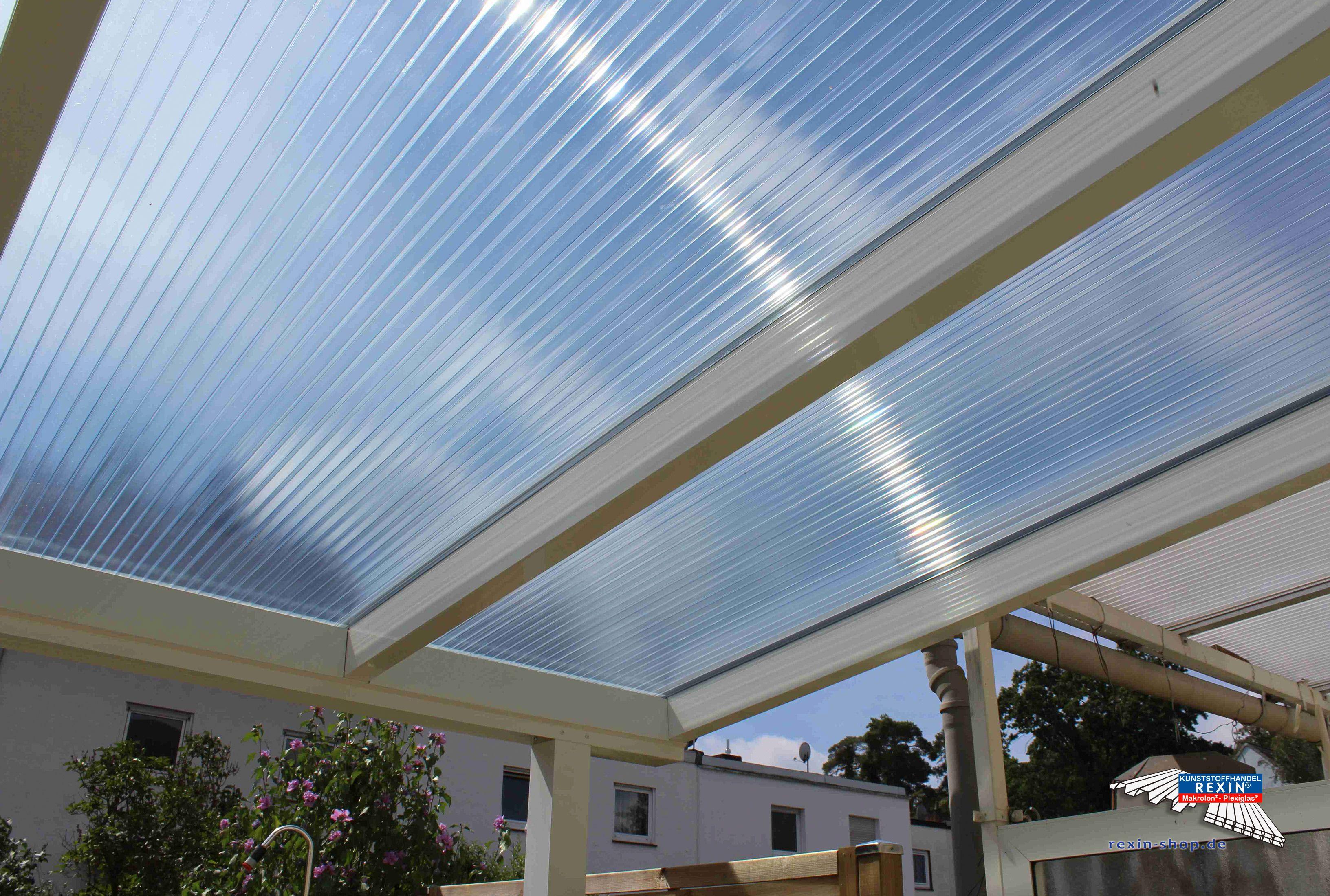 Alu Terrassendach Der Marke REXOpremium 7m X 3m In Weiß Mit Stegplatten  Makrolon CC Klar