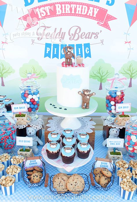 Pin By Kirsten Howard On Colton S First Birthday In 2020 Teddy Bear Picnic Birthday Party Picnic Birthday Party Picnic Birthday