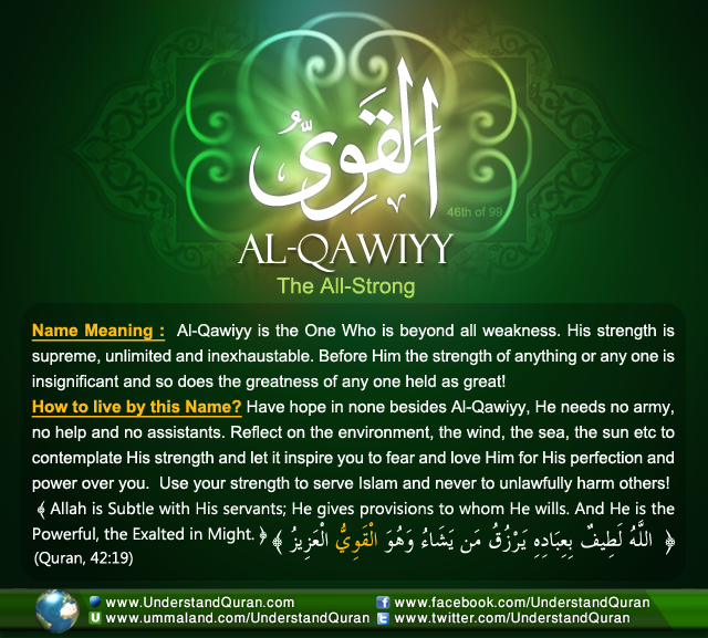 And the Answer is . . . AlQawiyy Allah names, Allah