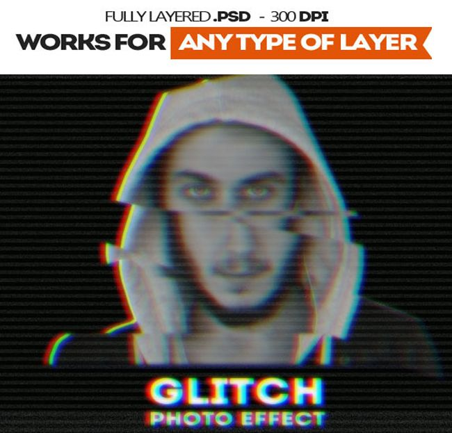 Glitch VHS Corrupted Image Photoshop Action | _Portrait