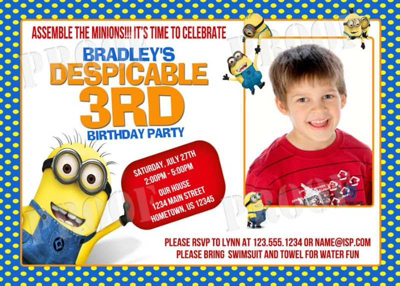 Personalized Despicable Me Minions Birthday Party Photo