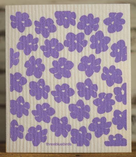 Purple Poppies Swedish Dishcloth