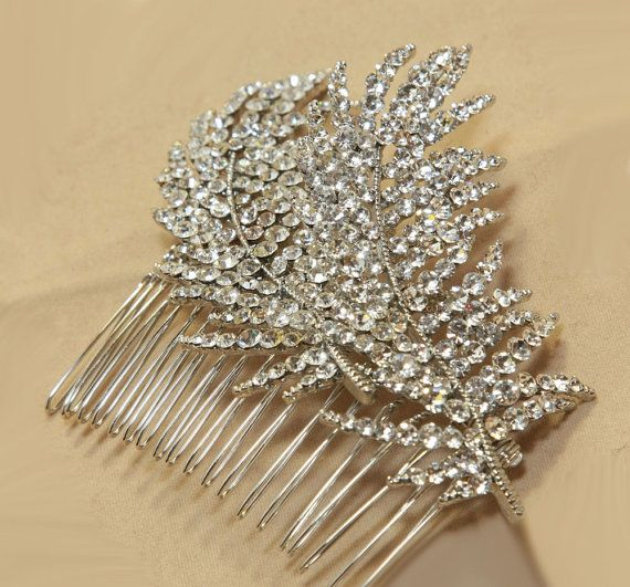 Double Feather crystals Rhinestones Bridal Wedding by blinggarden, $33.99