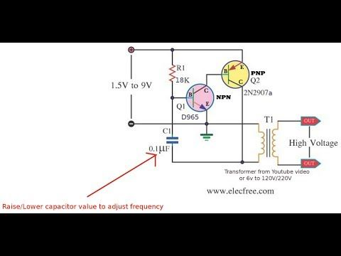 Simple DC to AC (Transformer) Inverter 1.7v (DC) to 58v (AC ... on