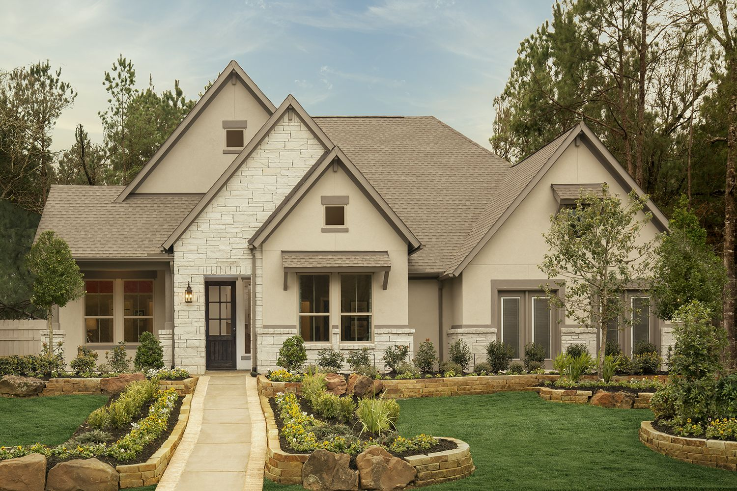 Exterior Elevation With Brick Stone And Stucco Coventry Homes Architecture House Styles