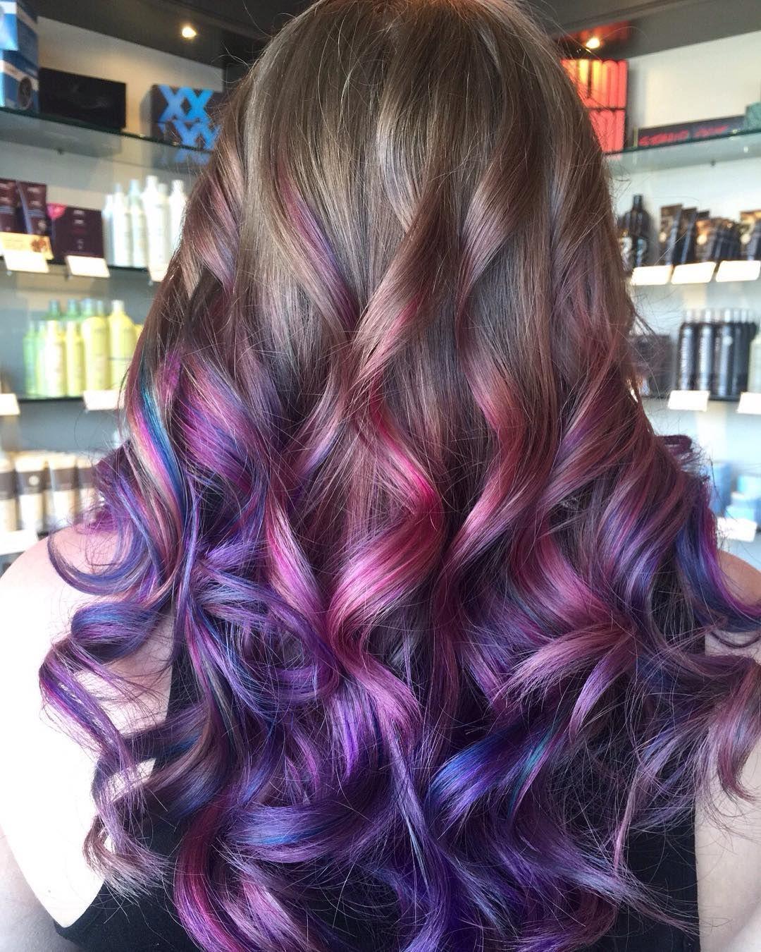 Unicorn pink and purple balayage hair RedBloom Salon Hair Color