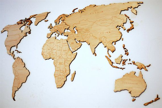 Laser Cut World Map.Wooden World Map Design File For Laser Cut Or Cnc Instant Download