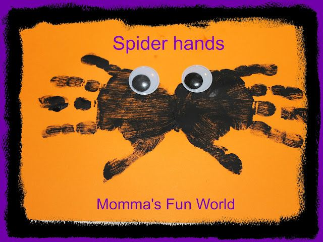 Momma\u0027s Fun World Spider handprints keepsakes Halloween - halloween kids craft ideas