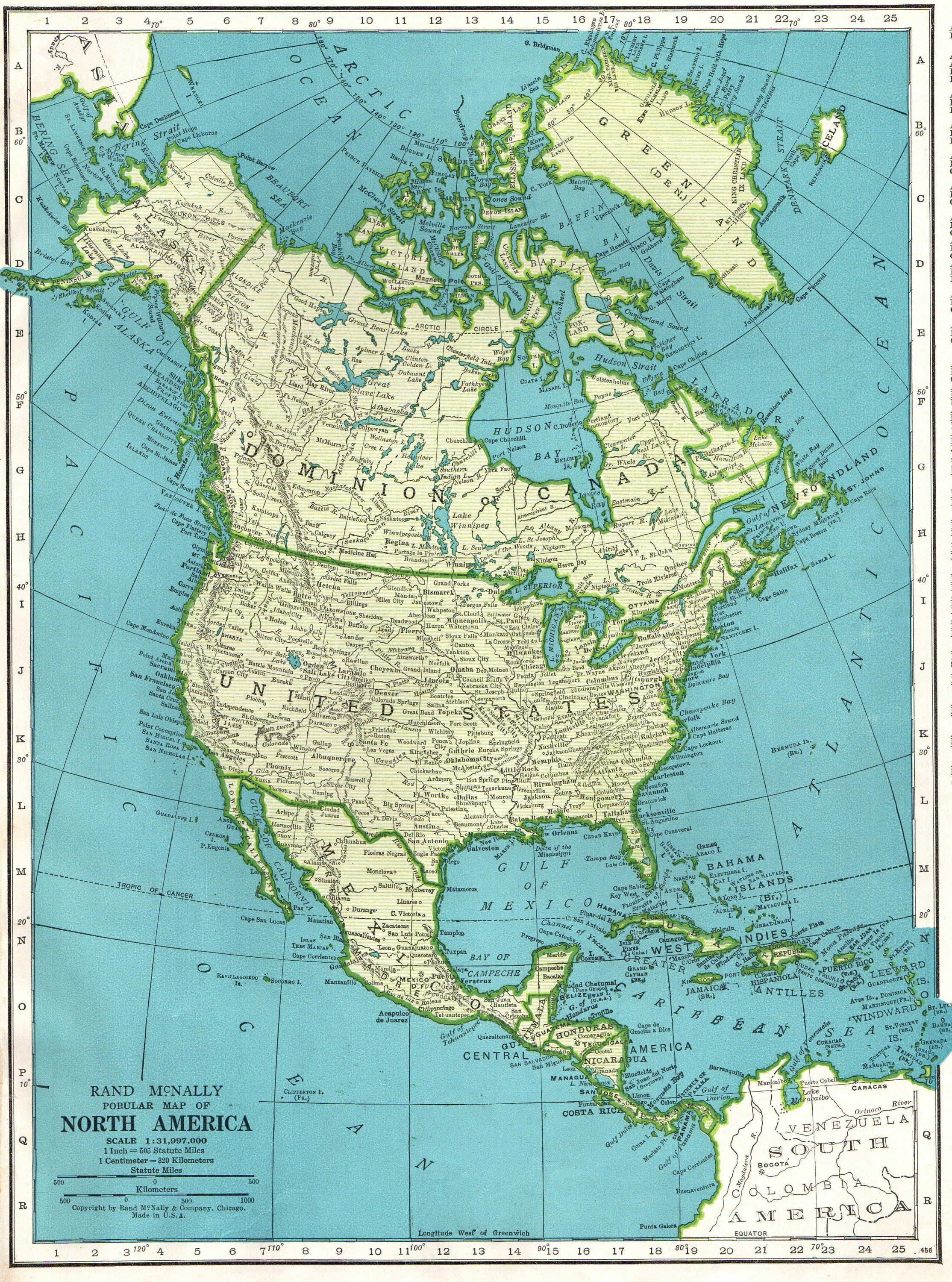 1946 Vintage NORTH AMERICA MAP Gallery Wall Art Map of North America ...