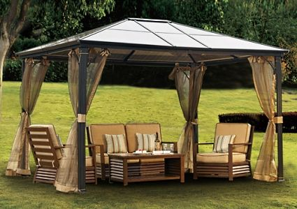 10 X 12 Outdoor Hardtop Polycarbonate Roof Patio Gazebo W/Netting U0026 Metal  Frame