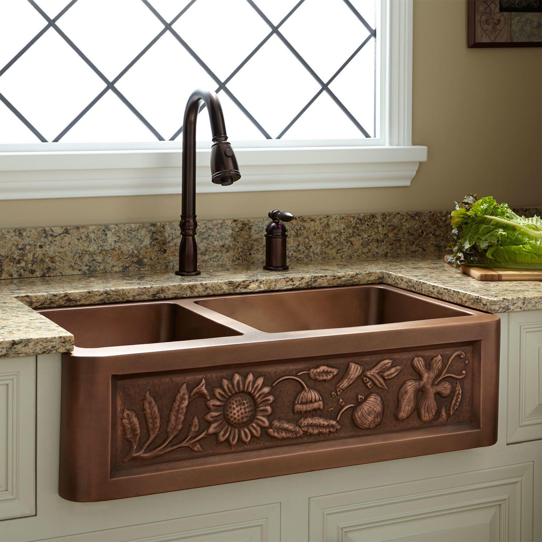 33 Vine Design 60 40 Offset Double Bowl Copper Farmhouse Sink