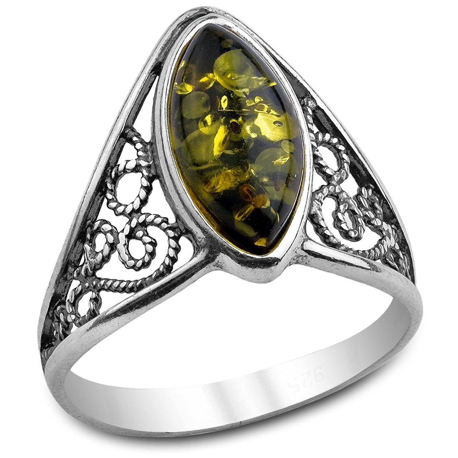 Sterling Silver Green Amber Classic Marquise Ring >>> Read