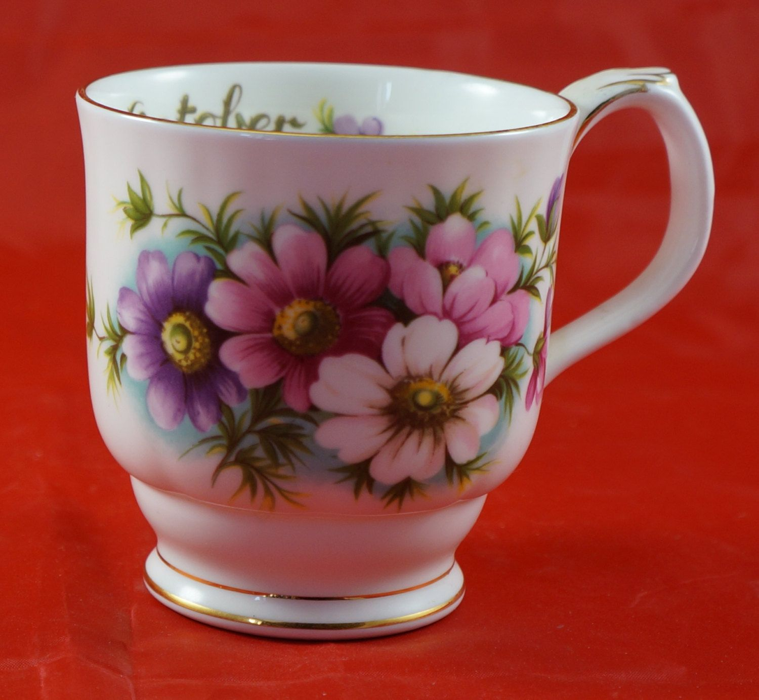 Royal Albert Bone China Flower of the Month Mug October Cosmos by RarebirdAntiques on Etsy