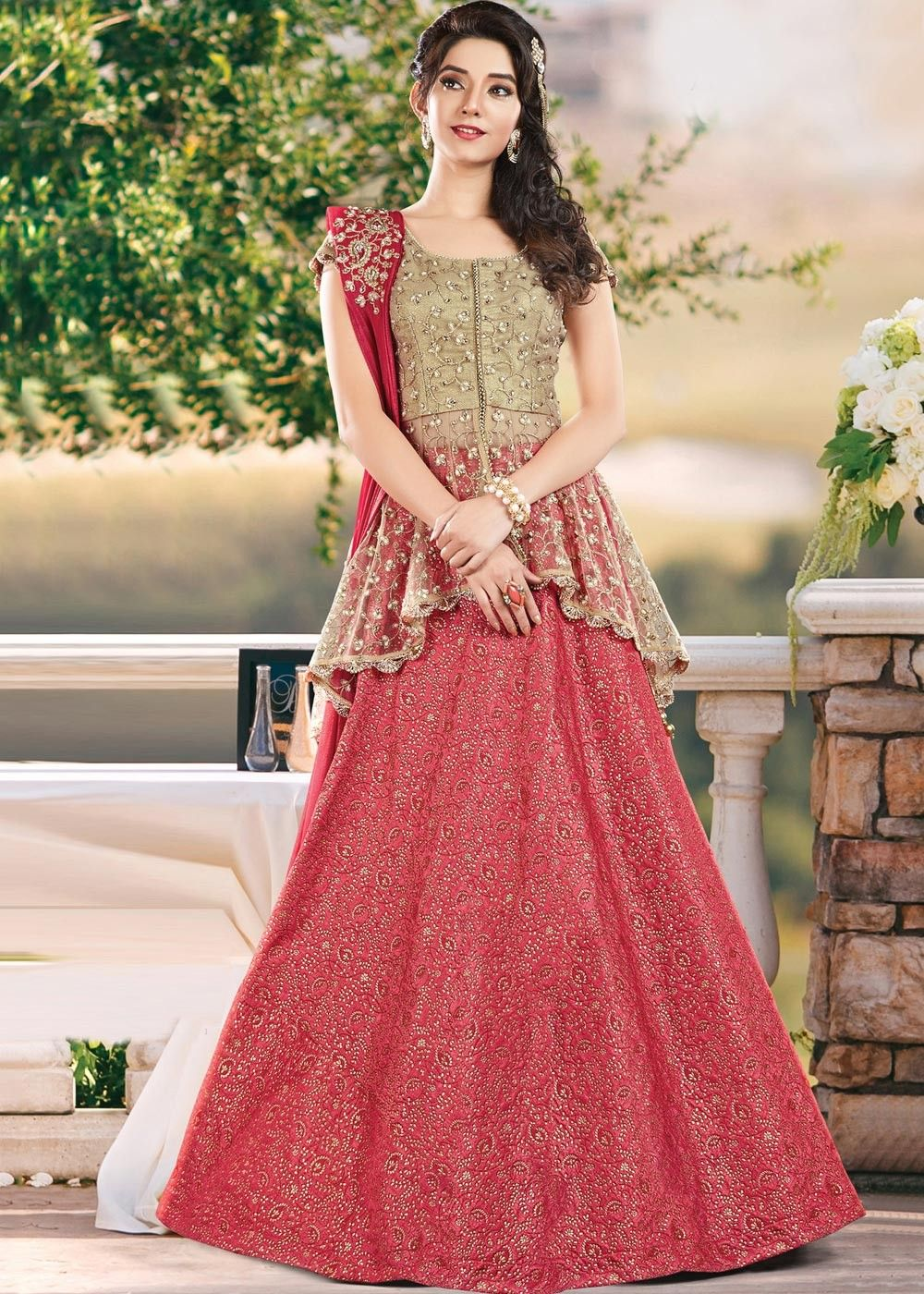 418b9158eb Look trendy by grabbing this pink self embroidered art #silk #lehenga with  embroidered #golden peplum type top with #georgette embroidered #dupatta.