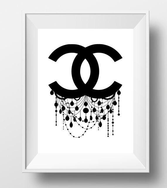 Chanel Logo Chanel Decor Chanel Wall Art Chanel Chandelier Chanel Art Print Chanel Logo Art Girls Room Decor Chanel Fashion Art