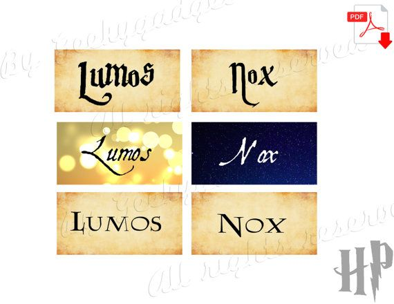 Lumos Nox Light Switch Labels Harry Potter Party Decoration Hogwarts Halloween Wizard Home Deco Printabl Lumos Nox Lumos Harry Potter Party Decorations