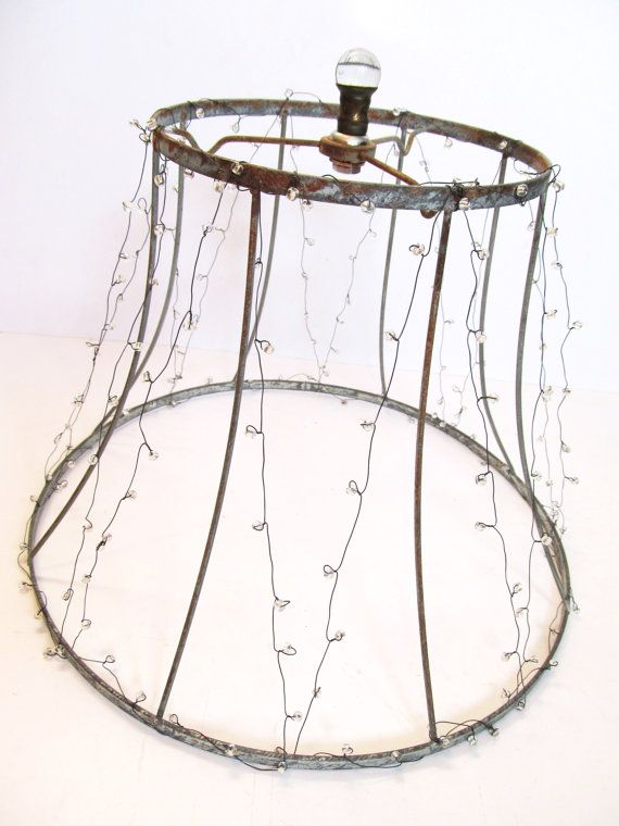 Vintage lampshade frame wrapped in transparent silver lined seed vintage lampshade frame wrapped in transparent silver lined seed beads on wire greentooth Image collections