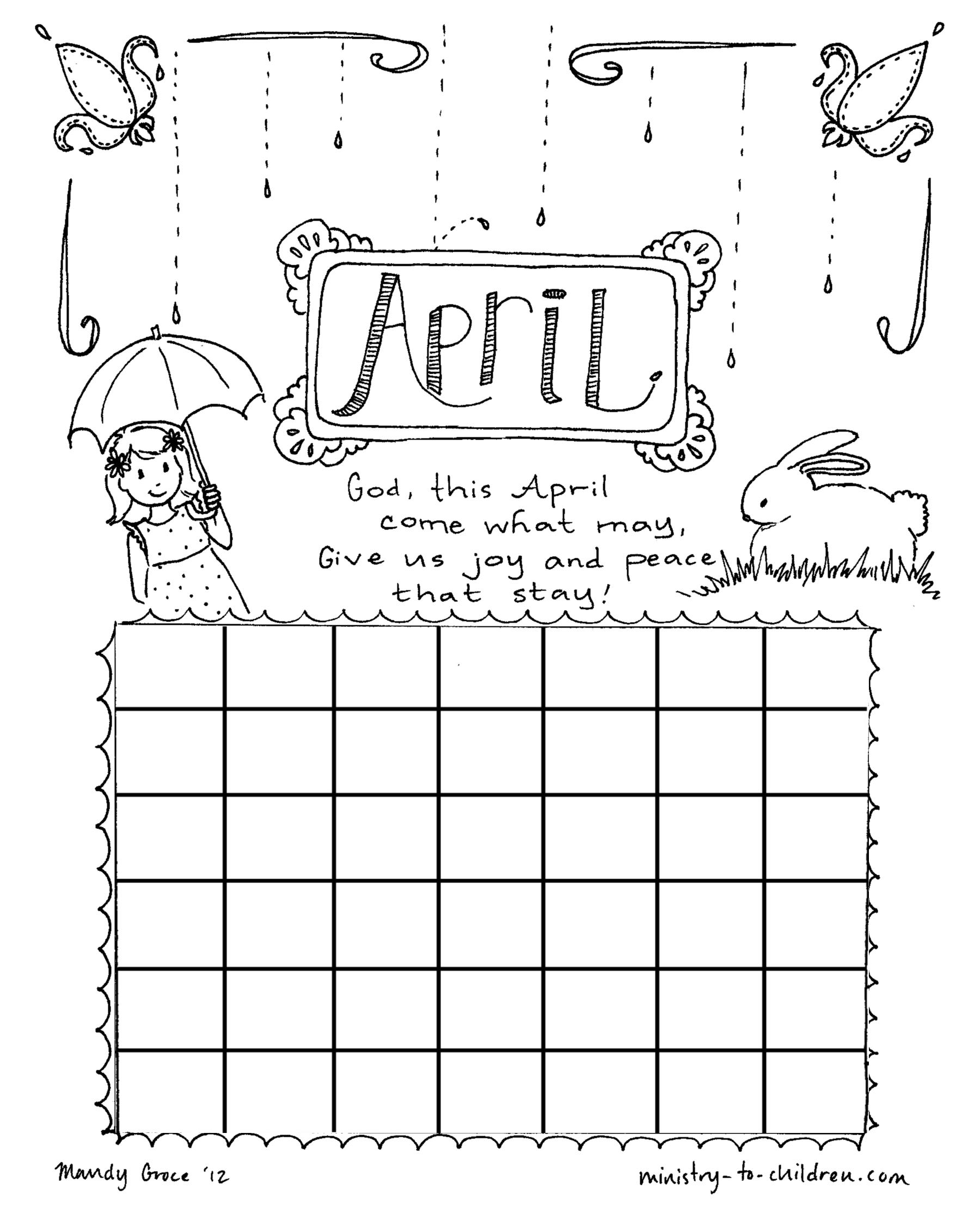 April Coloring Page Calendar Sheet For Kids Kids