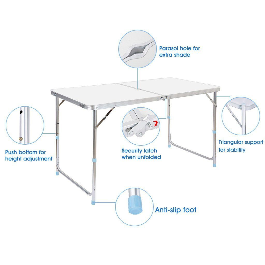 Gracelove Outdoor Multi Purpose Portable Height Adjustable Aluminum Folding  Table Indoor (White, One Size)